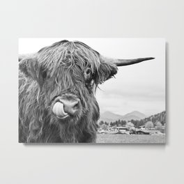 Cute Highland Cow Black & White #1 #wall #art #society6 Metal Print