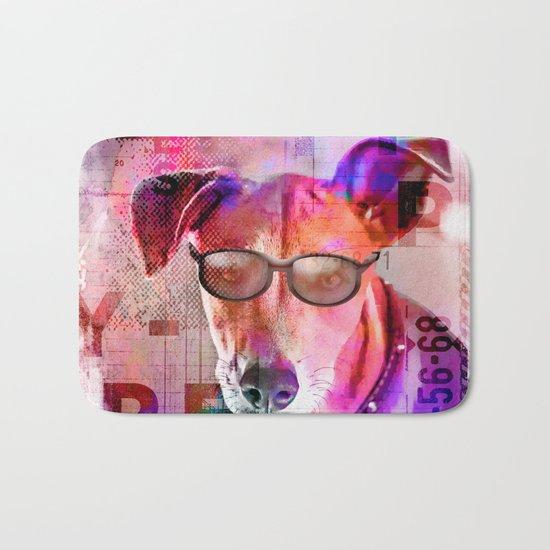 Cool colorful hippster dog artwork Bath Mat