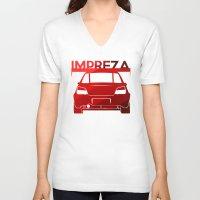 subaru V-neck T-shirts featuring Subaru Impreza - classic red - by Vehicle
