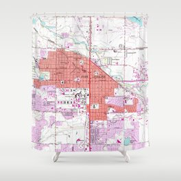Vintage Map of Fort Collins Colorado (1960) Shower Curtain