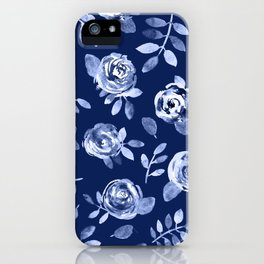 Hand painted navy blue white watercolor floral roses pattern iPhone Case