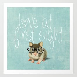 Little mouse in love Art Print