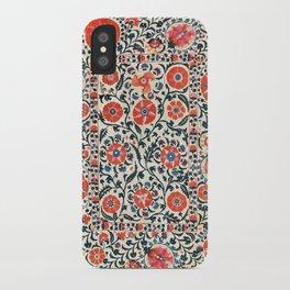 Shakhrisyabz Suzani  Uzbekistan Antique Floral Embroidery Print iPhone Case