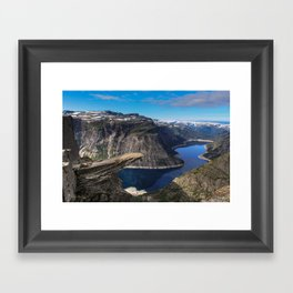 Trolltunga on a Blue Sky Day in Norway Framed Art Print