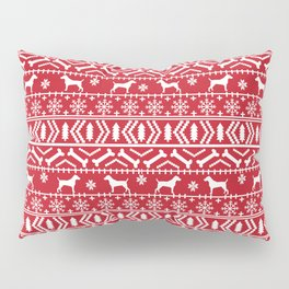 Jack Russell Terrier fair isle christmas sweater dog breed pattern holidays red and white Pillow Sham