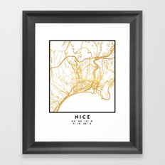 NICE FRANCE CITY STREET MAP ART Framed Art Print