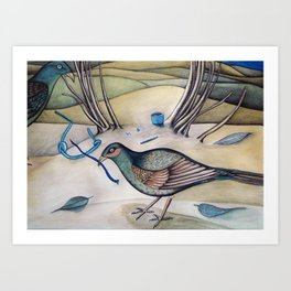 Bower birds in my backyard Art Print