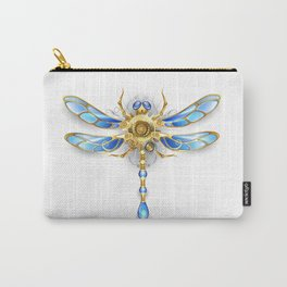 Mechanical Dragonfly on White Background ( Steampunk ) Carry-All Pouch