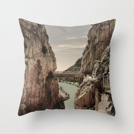 """""""The most dangerous trail in the world II"""". El Caminito del Rey  Throw Pillow"""