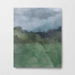 Blue Gray Stormy Clouds Grass Green Forest Abstract Nature Rustic Painting Art Print Wall Decor  Metal Print
