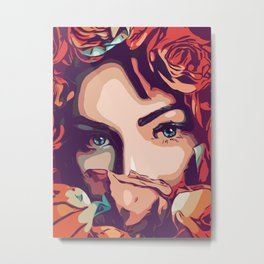Flower girl with amazing blue eyes in popart style Metal Print
