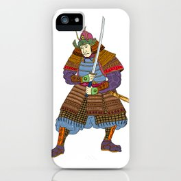 Vintage Samurai Katana Woodblock Print iPhone Case
