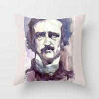 edgar allan poe Throw Pillows featuring Edgar Allan Poe by Germania Marquez