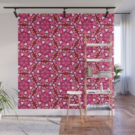 Love Hearts Doodle - Pink and Red Wall Mural