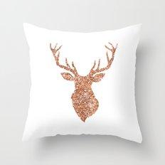 Sparkling reindeer blush gold Throw Pillow