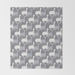 Gray Pink and White Llama Silhouette Seamless Throw Blanket