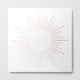 Sunburst Moon Dust Bronze on White Metal Print