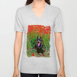 doberman dog red flowers meadow vector art Unisex V-Neck