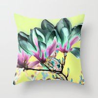 aelwen Throw Pillows featuring MAGNOLIA - PopArt by CAPTAINSILVA