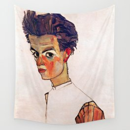 Egon Schiele - Self-Portrait with Striped Shirt 1910 Wall Tapestry