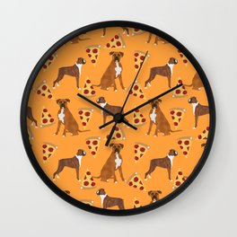Boxer pizza party cute junk food cheese dog art pet portrait boxer dog breed must have gifts for dog Wall Clock