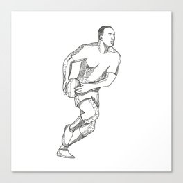 Rugby Player Passing Ball Doodle Art Canvas Print
