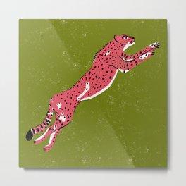Jumping Cheetah Metal Print