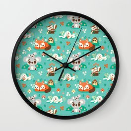 Sleeping Woodland Friends / Cute Animals Wall Clock
