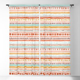 Boho Stripes - Watercolour pattern in rusts, turquoise & mustard. Nursery print Blackout Curtain