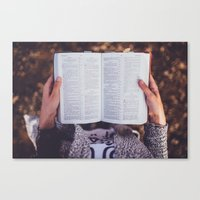 bible Canvas Prints featuring Bible by Johnny Frazer