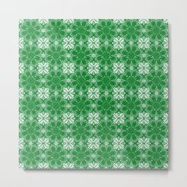 Green Floral Geometric Metal Print