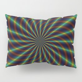 Rays and Swirls in Green and Blue Pillow Sham