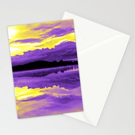 Nonbinary Pride Sunset & Clouds over a Lake Landscape Stationery Cards
