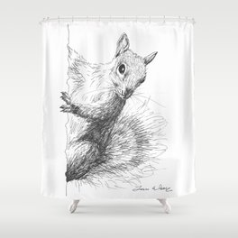 Gray Squirrel Drawing Shower Curtain