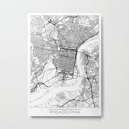 Philadelphia Map White Metal Print