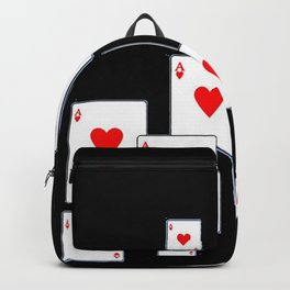 RED HEART ACES CASINO PLAYING CARDS ON BLACK Backpack