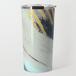 Karma: a bold abstract in blues and gold Travel Mug
