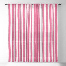 Red and White Cabana Stripes Palm Beach Preppy Sheer Curtain