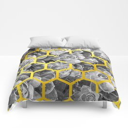Black and White Succulent Geometric Comforters