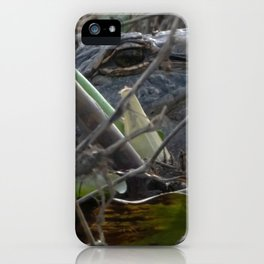 Alligator Concealed in Brush on Bank of Swamp iPhone Case