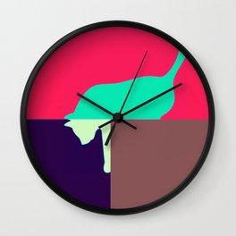 cat design in shock pink Wall Clock