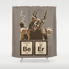 Funny chemistry bear discovered beer Shower Curtain