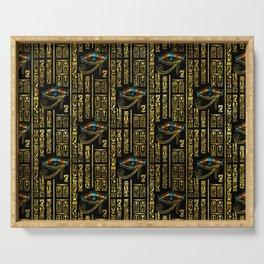 Eye of Horus and Egyptian hieroglyphs pattern Serving Tray