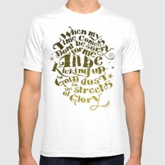 Kicking up gold dust on the streets of glory MEDIUM Mens Fitted Tee White
