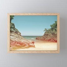 #01_#Beach#retro#film#effect Framed Mini Art Print