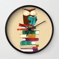 reading Wall Clocks featuring Owl Reading Rainbow by Picomodi