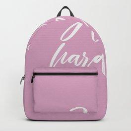 hustle hard - pink Backpack
