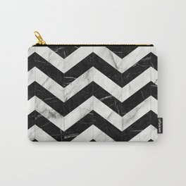 Marble Chevron Pattern 2 - Black and White Carry-All Pouch