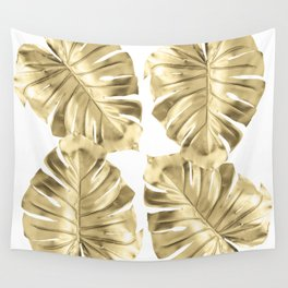 Monstera Gold Wall Tapestry