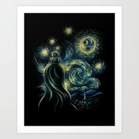 Art Prints featuring Death Starry Night by The Cracked Dispensary